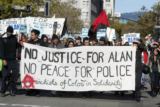 Anarchists of Color bloc in Solidarity with Alan Bluford