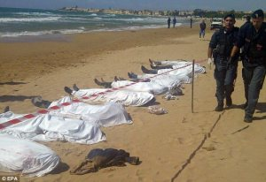 The bodies of 13 immigrants who drowned off the coast of Sicily - Sept 30th