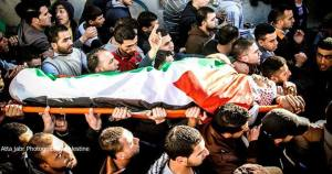 The funeral of martyr Muhammad Mubarak today at the Jalazoun refugee camp near Ramallah.