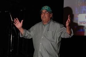 Ohlone elder, Hank Herrera opened the space before the report back.