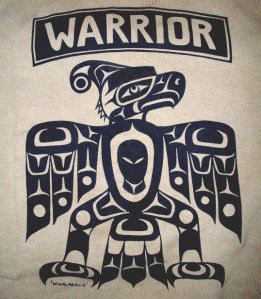 Image on T-Shirt available on Warrior Publications website (Design by Gord Hill, Kwakwaka'wakw)