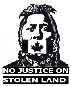 No Justice Stolen Land button