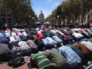 Midday prayers held at the UN Plaza during SF rally for Gaza.