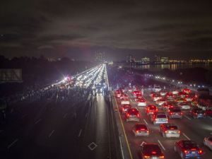 Interstate 80 freeway blocked in both directions by thousands of protesters on Monday, December 8 in Berkeley.