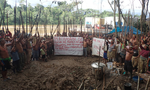 Kichwas protesting in the northern Peruvian Amazon following more than 40 years of oil operations in their territories. Photograph: Feconat